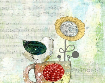 Bird Art Print, Modern Kitchen Art Reproduction , 11x14 Giclee Print , Whimsical Mixed Media Collage Art