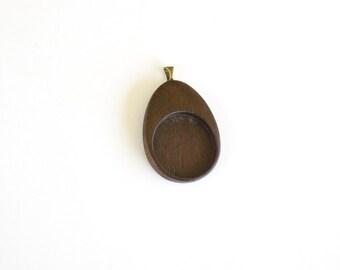 "Truly artisanal No laser hardwood pendant blank - Walnut - 1"" - 25.5 mm - Brass Bail - (E4-W)"