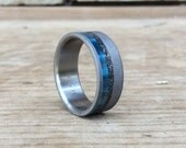 Titanium Ring, Blue Box Elder and Meteorite Ring, Meteorite Ring, Wood Ring, Blue Ring, Custom Made Ring, Wedding Ring, Wedding Band Set