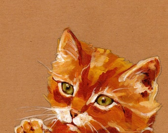 """Cat Can't Decide to Touch You With Its Claws or Not 5"""" x 7"""" Print"""