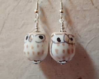 Ceramic Owl  Bird Earrings Tan Beige and  White on Silver   What a Hoot
