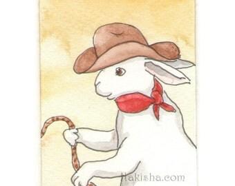 Original Watercolor Rabbit Painting - Cowbunny - ACEO