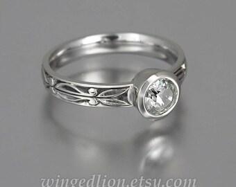 AUGUSTA White Sapphire 14K gold ring