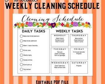 Printable Weekly Cleaning Shedule - Floral