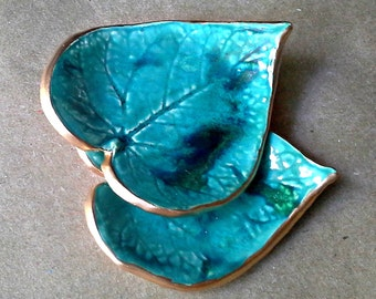 Ceramic Leaf  Set TWO Small Ring Dishes malachite GREEN edged in gold