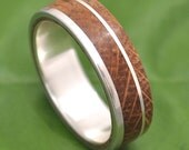 Bourbon Barrel Wood Ring - White Oak Un Lado Asi Wood Ring - wood wedding band with recycled sterling silver, mens wood wedding ring