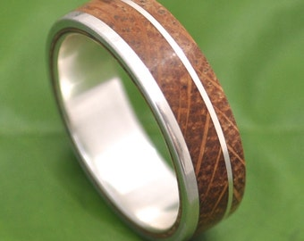 Size 8.75 READY TO SHIP Bourbon Barrel Wood Ring - White Oak Un Lado Asi Wood Ring - wood wedding band with recycled sterling silver