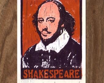 Linocut Print Handpulled - William Shakespeare
