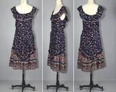 1970s dress / cotton gauze / egyptian / AMUN RA sun dress
