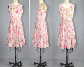 1960s dress / floral / sleeveless / ROSE CLOUD vintage dress