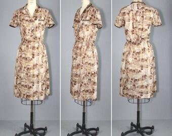 vintage dress / novelty print / CENTURY 21 vintage uniform