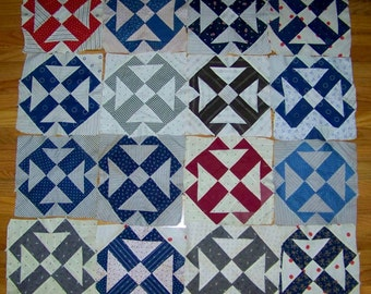 Antique 1900's  Set QUILT SQUARES Hand Stitched T Design
