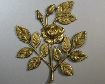2 Brass Rose with Leaves Stampings / Findings