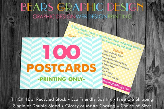 100 Postcards, Postcard Printing, Save the Date Postcards, Thank You Postcards, Glossy Postcards, Matte Postcards