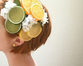 Fruit Orchard Blossom Fascinator Collection, Orange Slices Hair Clip, Fruit Hair Clip, Retro hair