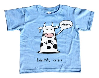 Identity Crisis Cat Cow Kids Tshirt -  Cute Funny Cow TShirt - Youth and Toddler Sizes