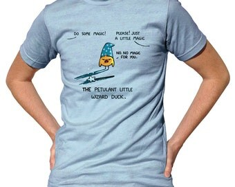 Petulant Wizard Duck Tshirt - Mens and Ladies Sizes - Cute Funny Duck T-Shirt