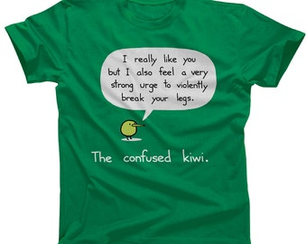 Confused Kiwi Tshirt - Available in Mens and Womens Sizes - Cute Funny Violent Bird Shirt