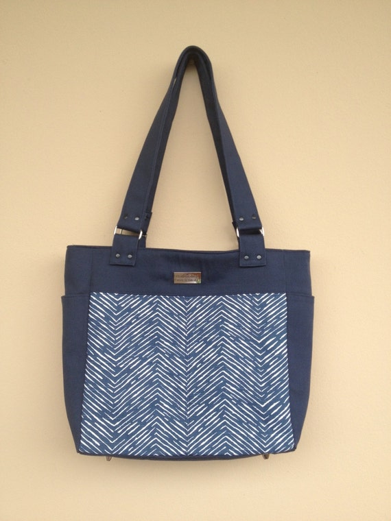 Navy Blue Bag, Chevron Fabric Bag, Shoulder Purse, Large Canvas Fabric ...