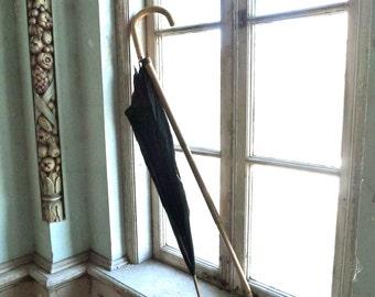 Antique Silk Parasol With Wood Sheath