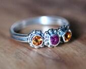 Mothers ring birthstones, 3 stone ring, birthstone ring, unique mothers ring, gemstone ring, three stone ring, crush ring trio, custom made