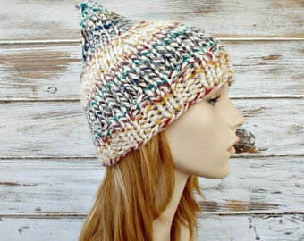 Knit Hat Womens Hat - Gnome Hat in Hudson Bay Multicolor Cream - Cream Gnome Hat Cream Beanie Cream Hat Womens Accessories