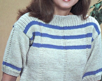 "Easy Knitting Pattern Summer ""T"" Sweater Women Beginner Worsted Weight Yarn Vintage Paper Original NOT a PDF"