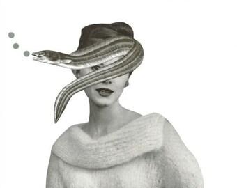 Original Collage Art Eel Fish Art for Bathroom Ocean Decor Sea Life Black White Collage on Paper Fish Artwork