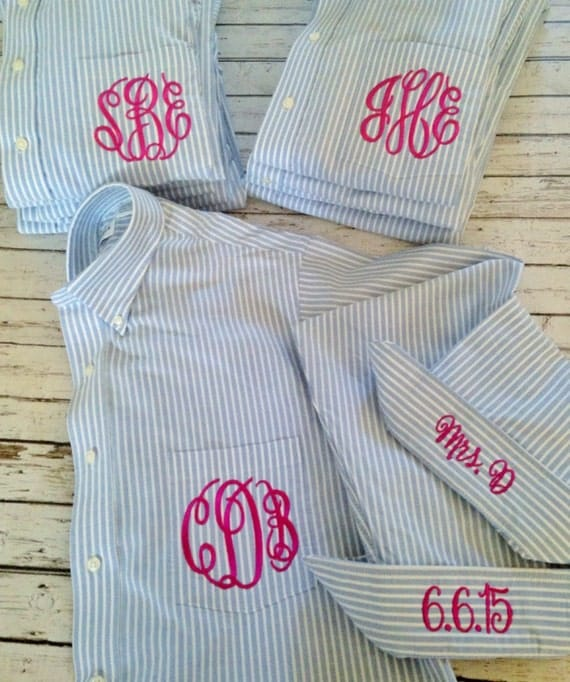 Striped men's oxford with monogram, $35 at monkeyseeboutique.etsy.com.