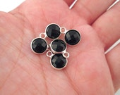 2 8mm Black Faceted Glass Pendants, Round Drop with a Smooth Silver Plated Bezel