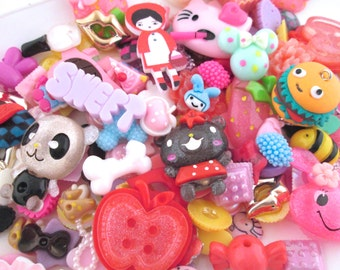 100pc decoden kawaii cabochons, assorted mix grab bag of cuteness