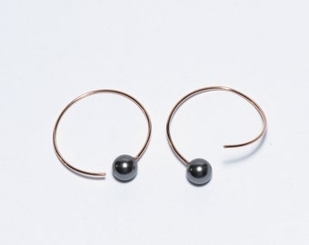 Pearl Hoop Earrings in Rose Gold Filled, Endless Look, Black Pearl Earrings, Swarovski Pearls, 6mm Round, Light Weight, Minimalist, Simple