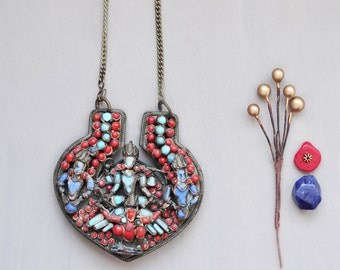 Vintage Nepal / Tibet Buddha Necklace - large ornament with red and blue inlaid glass
