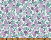 Vintage Cotton Fabric - Aqua and Purple Roses - Quilting Cotton/Dress Cotton 1950s 1960s