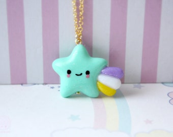 Kawaii Shooting Star Necklace, Handmade Polymer clay Pastel Color Jewelry - gift for her, gift under 20