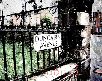 Duncairn Avenue, BELFAST, Northern Ireland, The Troubles, Old Iron Gate, Antrim, UK Street Sign,Ireland City, Urban Photo, ULSTER, Big Smoke