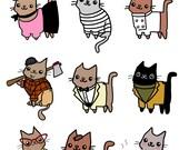 Sticker Sheet Cute Kitty Cat Stickers