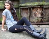 Womens cut out leggings, black pants, braided tights, distressed legging, goth, punk, tights