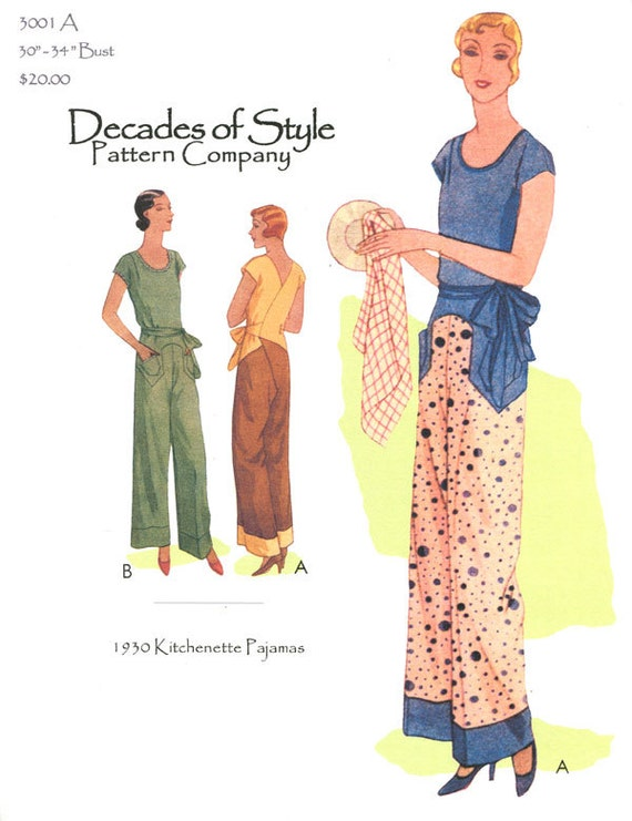 1930s Women's Pants and Beach Pajamas 1930s Kitchenette Pajamas Pattern || Decades of Style || Sewing Pattern $20.00 AT vintagedancer.com