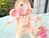 Needle Felted Mouse & Baby Doll / Collectible Decor, Animal