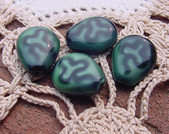 Forest Green Ebony Clover Vintage Glass Beads