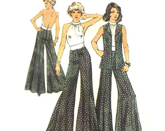 Simplicity 5611 DISCO CLOTHES Backless Halter and Wide Leg Pants circa 1973