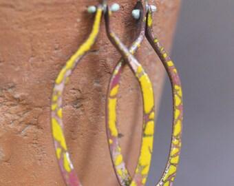 Enamel hoop earrings -   OOAK