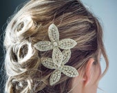 Sparkling double flower crystal hair comb - perfect for the Boho bride or evening glamour