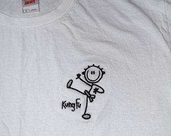 XL T-shirt Stick Figure KUNG Fu Martial Arts Embroidered - Ready to Ship