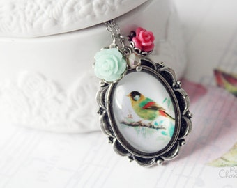 Bird Song Necklace, Romantic Shabby Chic Floral Jewelry