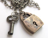 Antique Vintage Padlock Skeleton Key Charm Necklace Sterling Silver Chain Mixed Metal 16