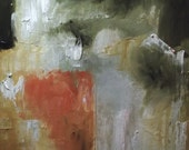 Abstract oil painting original square red gold ochre grey white atmospheric moody fine art