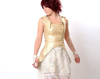 Golden Wedding Jacket, Swallowtail Sleeveless Glitter Gold Jacket -  Metallic Wedding vest- sz S