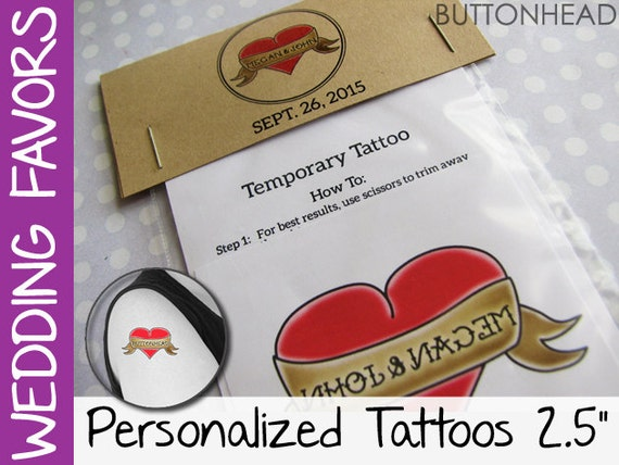 50 Unique Wedding Favors - Temporary Tattoos with Personalized Packaging